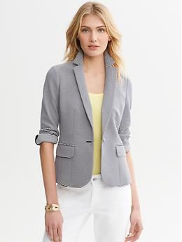 This is how you're likely to see a blazer worn at my office, and it's great for business casual. It says polished, without being stuffy. You can add personality to this office with color, jewelry and shoes.
