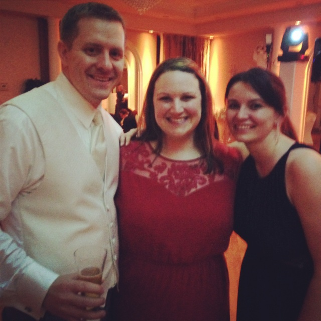 Dominika and me with the groom, Brent. (I'm wearing the red ASOS Curve dress I told you about in this post!)