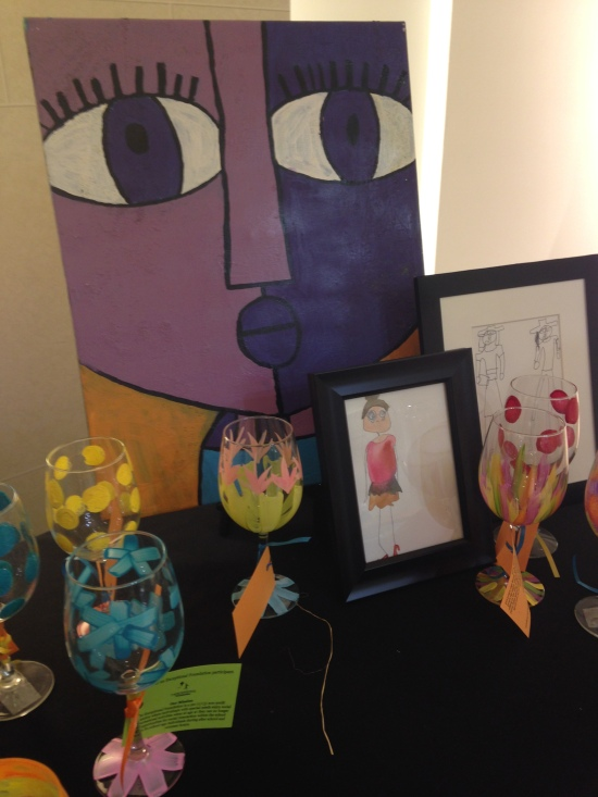 Artwork created by the Exceptional Foundation participants to benefit the organization on display at Saks