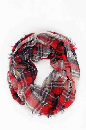 Urban Outfitters Shredded Plaid Scarf, $29
